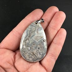 Stunning Taupe and Gray Crazy Lace Agate Stone Pendant #XJDcQldfhn8