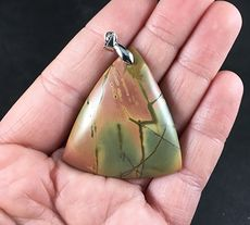Stunning Triangle Shaped Pink Tan and Green Picasso Jasper Stone Pendant #ZdNTCPhyz7I
