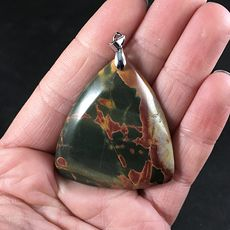 Stunning Triangular Dark Green Orange and Red Picasso Jasper Stone Pendant #XepoIezJwyE