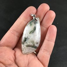 Stunning White and Green Druzy Moss Agate Stone Pendant #RBtUQLjIBcA