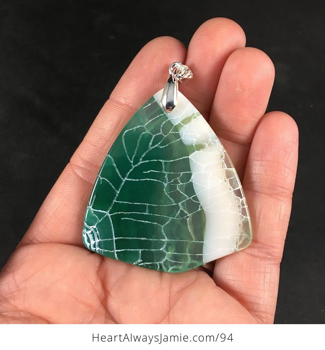Stylish Triangular Green and White Dragon Veins Agate Stone Pendant Necklace - #nBZ6MTJwWws-2