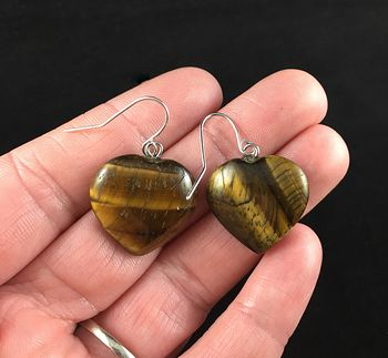 Tigers Eye Heart Shaped Stone Jewelry Earrings #aXDuiMxBmOo