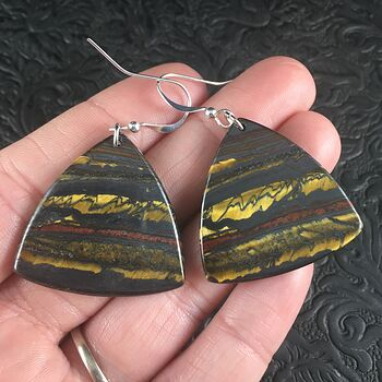 Triangle Australian Tiger Eye Stone Jewelry Earrings #avrn93oHS5o