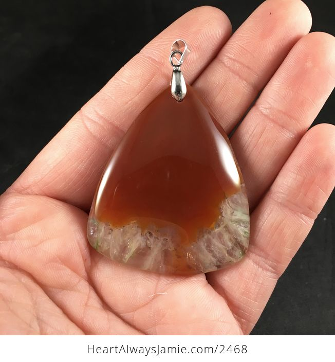 Triangle Shaped Brown and Orange and Green Druzy Agate Stone Pendant - #GvhKGg5lOrk-1