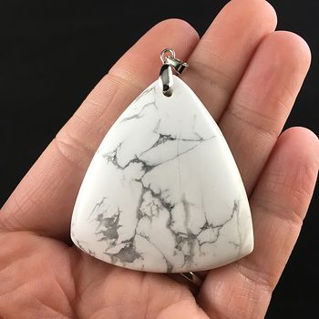 Triangle Shaped White Howlite Stone Jewelry Pendant #Td3nQp3hpk8