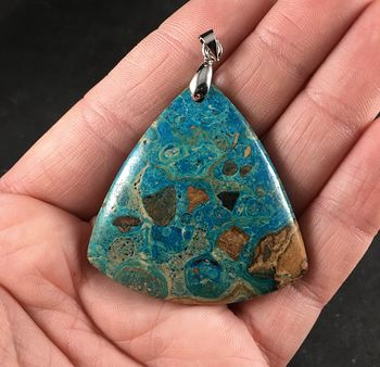Triangular 34islands and Sea34 Tan Brown and Blue Choi Finches Malachite Stone Pendant Necklace #d20b6SiF1xo