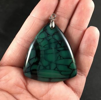 Triangular Green and Black Dragon Veins Stone Pendant Necklace #jxnXEsEB8qM