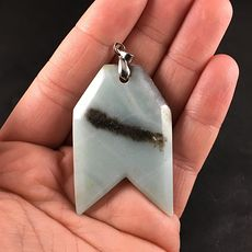 Unique Arrow Shaped Blue and Brown Natural Amazonite Jasper Stone Pendant #k50fL9BfJd8
