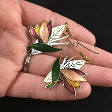 Vintage Cloissone Bird of Paradise Flower Earrings #uBY9DGqEPLk