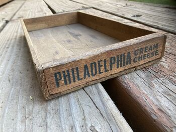 Vintage Philadelphia Cream Cheese Wooden Advertising Crate Tray #gOmDvWalYWY