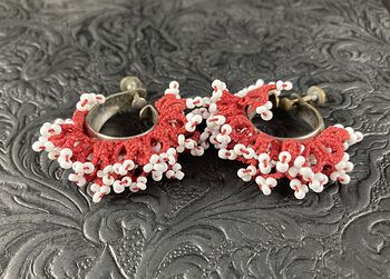 Vintage Red and White Macrame Beaded Clip Earrings #WvuVOJxen0w