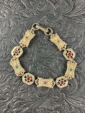 Vintage Sara Coventry Minuet Bracelet with Gems and Gold Toned Links #Vkzm2MqTEPg