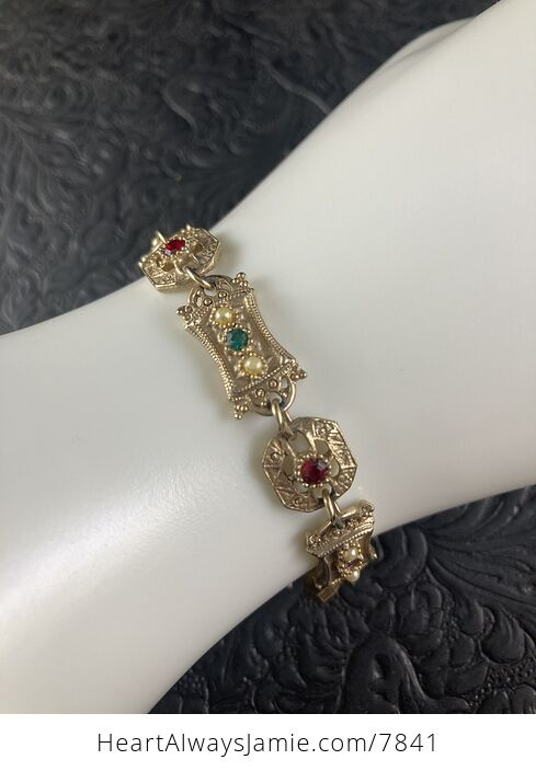 Vintage Sara Coventry Minuet Bracelet with Gems and Gold Toned Links - #Vkzm2MqTEPg-2