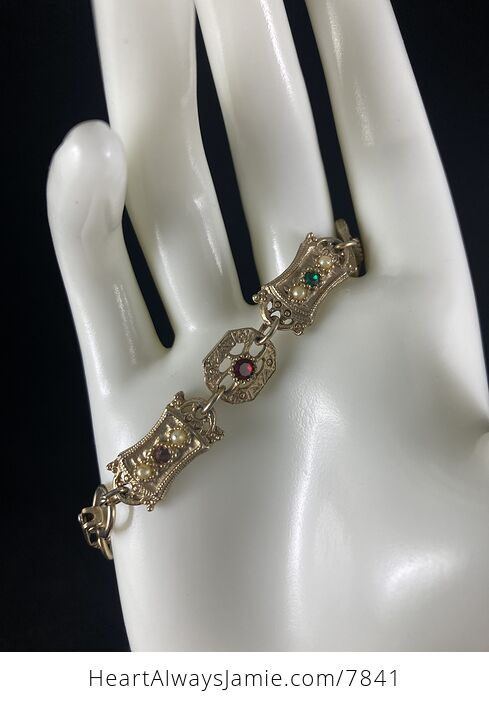 Vintage Sara Coventry Minuet Bracelet with Gems and Gold Toned Links - #Vkzm2MqTEPg-9