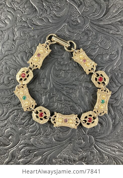 Vintage Sara Coventry Minuet Bracelet with Gems and Gold Toned Links - #Vkzm2MqTEPg-1
