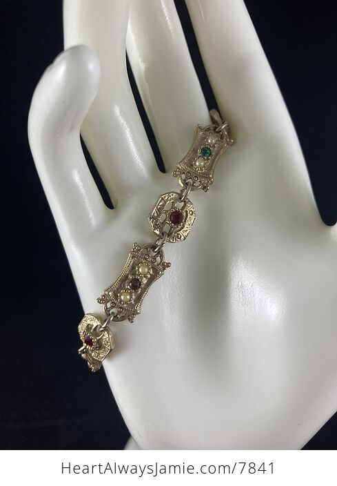 Vintage Sara Coventry Minuet Bracelet with Gems and Gold Toned Links - #Vkzm2MqTEPg-7