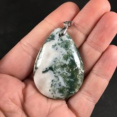 White and Green Dendritic Moss Agate Stone Pendant #whJ7Ue0jrjE