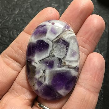 White and Purple Oval Brazil Amethyst Stone Pendant Jewelry #5dfi3YcDbAw