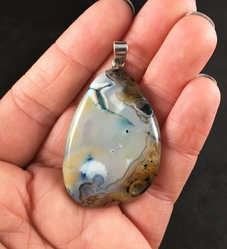 White Brown and Blue Druzy Dendrite Agate Stone Pendant Necklace #DP997yAtJYY