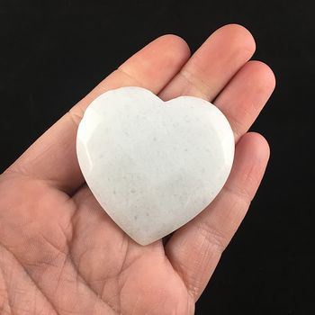 White Jade Stone Faceted Heart Shaped Cabochon #TjHn0jBWXfg