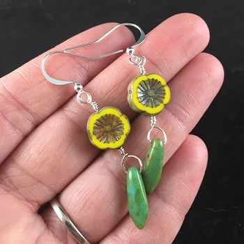 Yellow and Brown Glass Hawaiian Flower and Green Blue Turquoise Picasso Dagger Earrings with Silver Wire #dnMyH4mf7cU