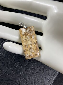 Yellow Beige and Orange Natural Brecciated Mookaite Stone Jewelry Pendant #YKxsgyBmMYI